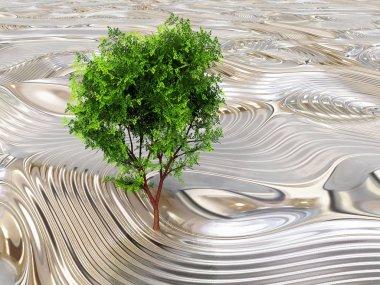 Tree and metallic texture