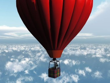 Red air balloon in sky stock vector
