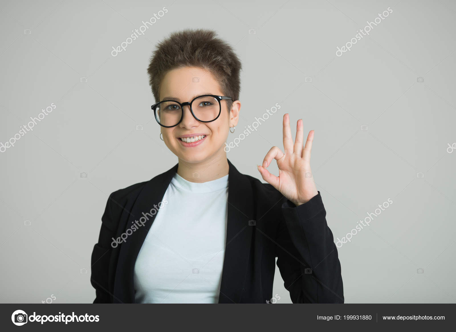 Young Beautiful Girl Short Hair Her Head Glasses Short