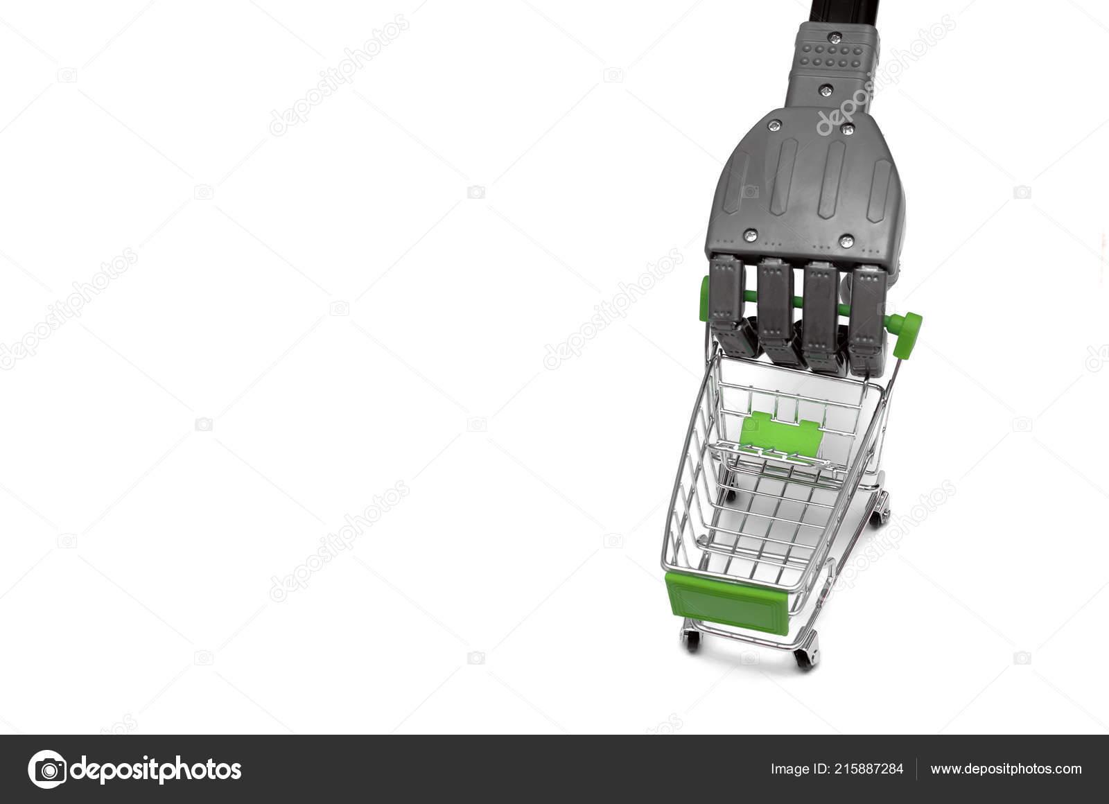 Robot Hand Shopping Cart Basket Isolated White Background