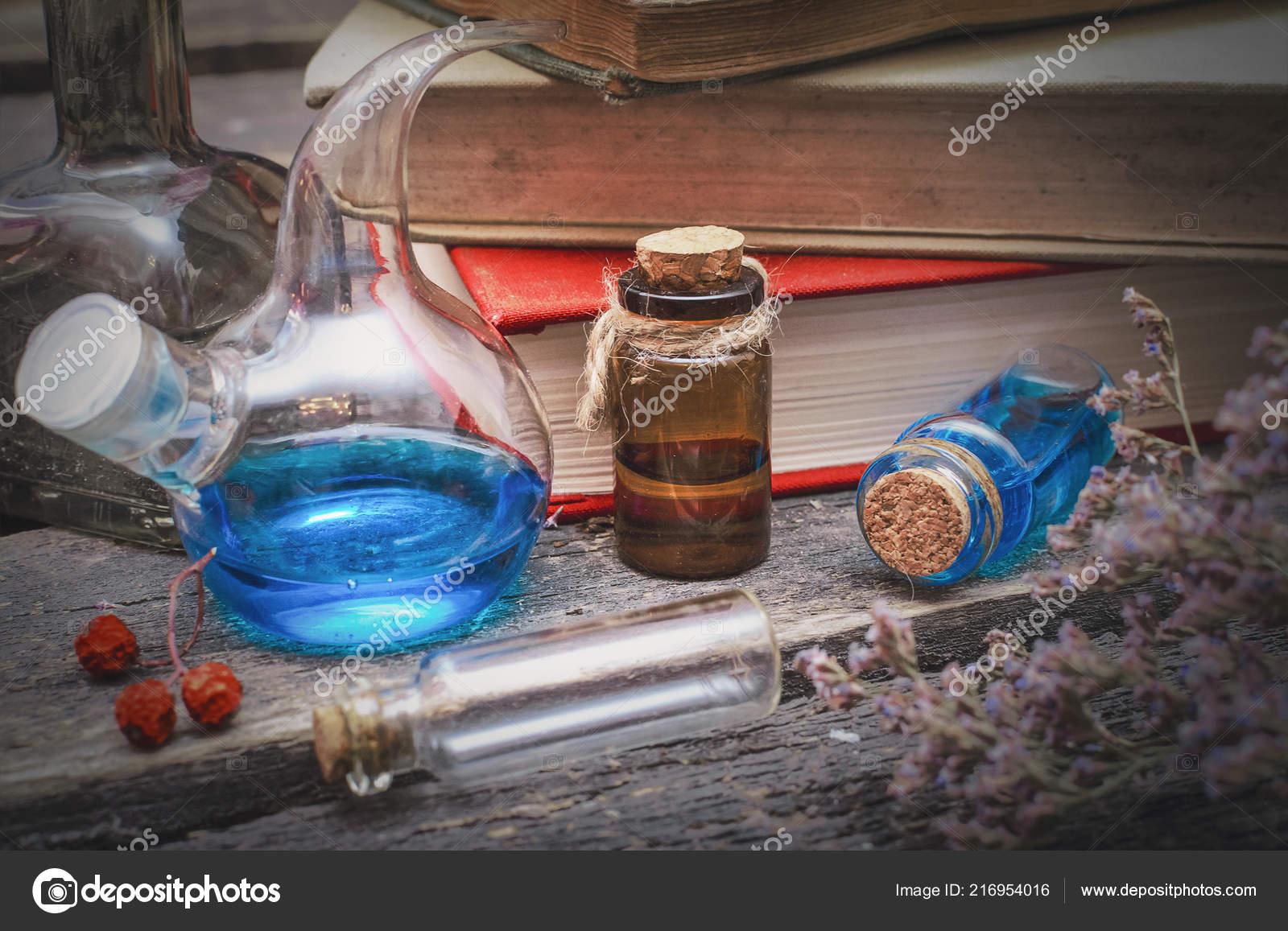 Essential Oil Bottles Old Books Herbal Medicine Magic Potion