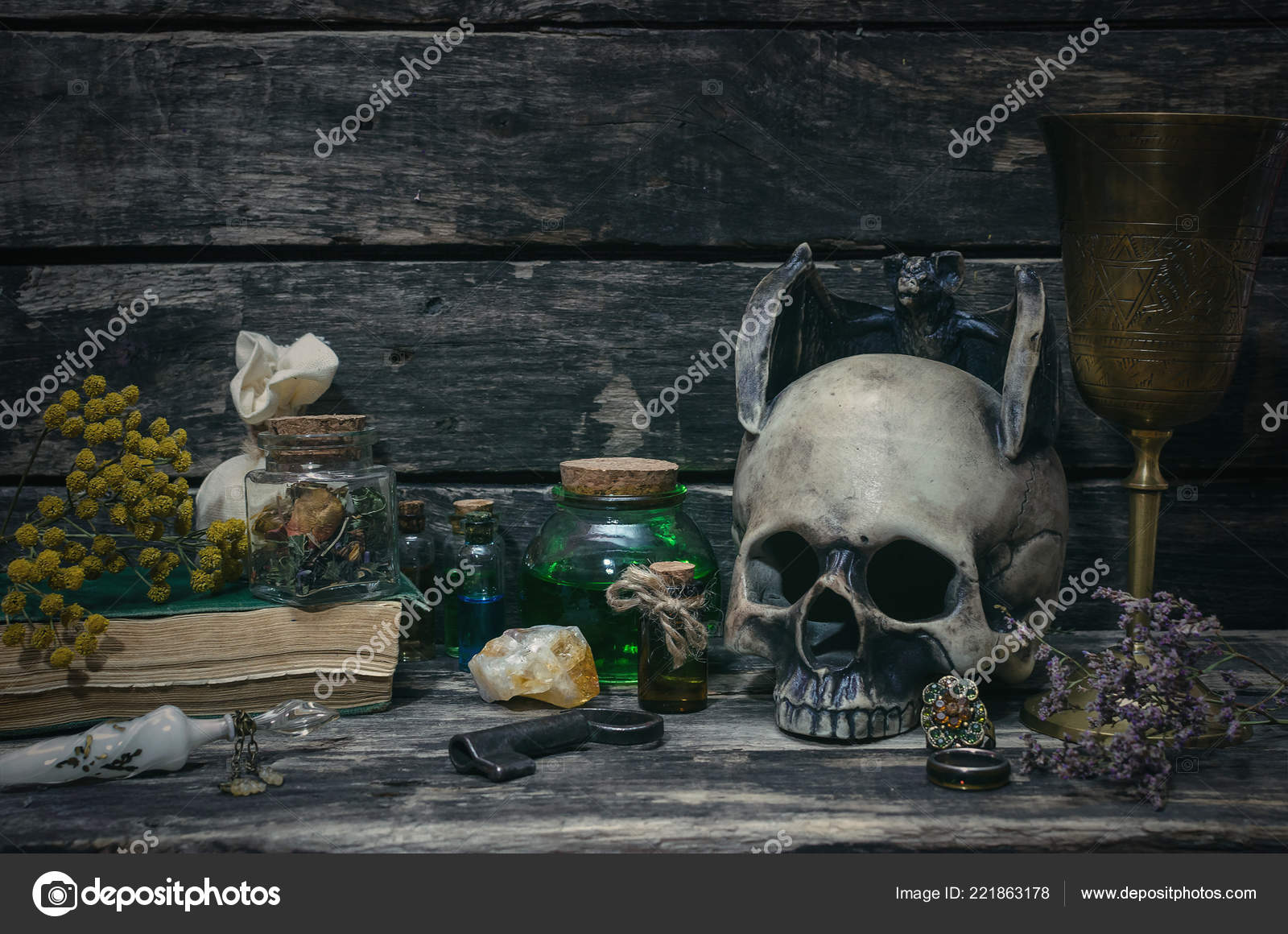 Magic Potion Spell Books Magic Table Background Witchcraft