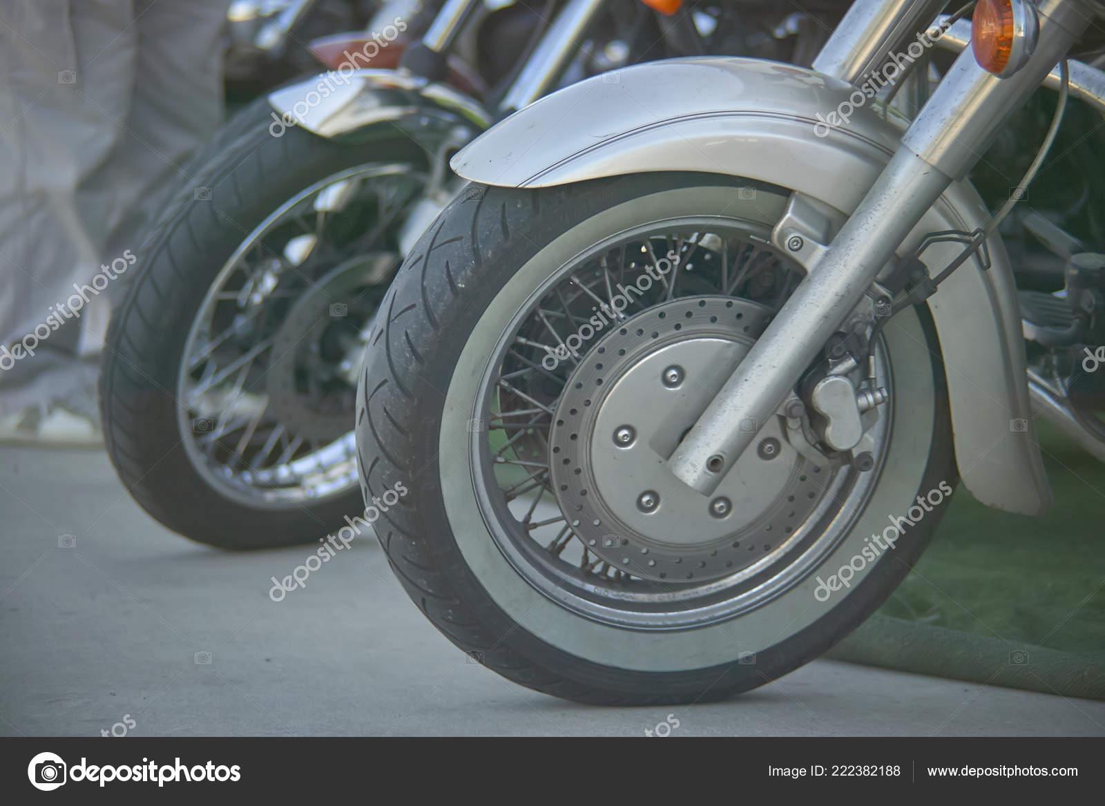 Detail Wheel Vintage Motorcycle Well Visible Disc Brake