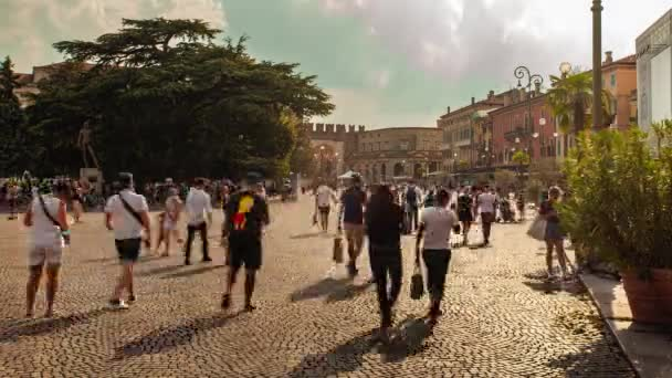 Time Lapse of Wide angle view of Piazza Bra in Verona in Italy in the golden Hour