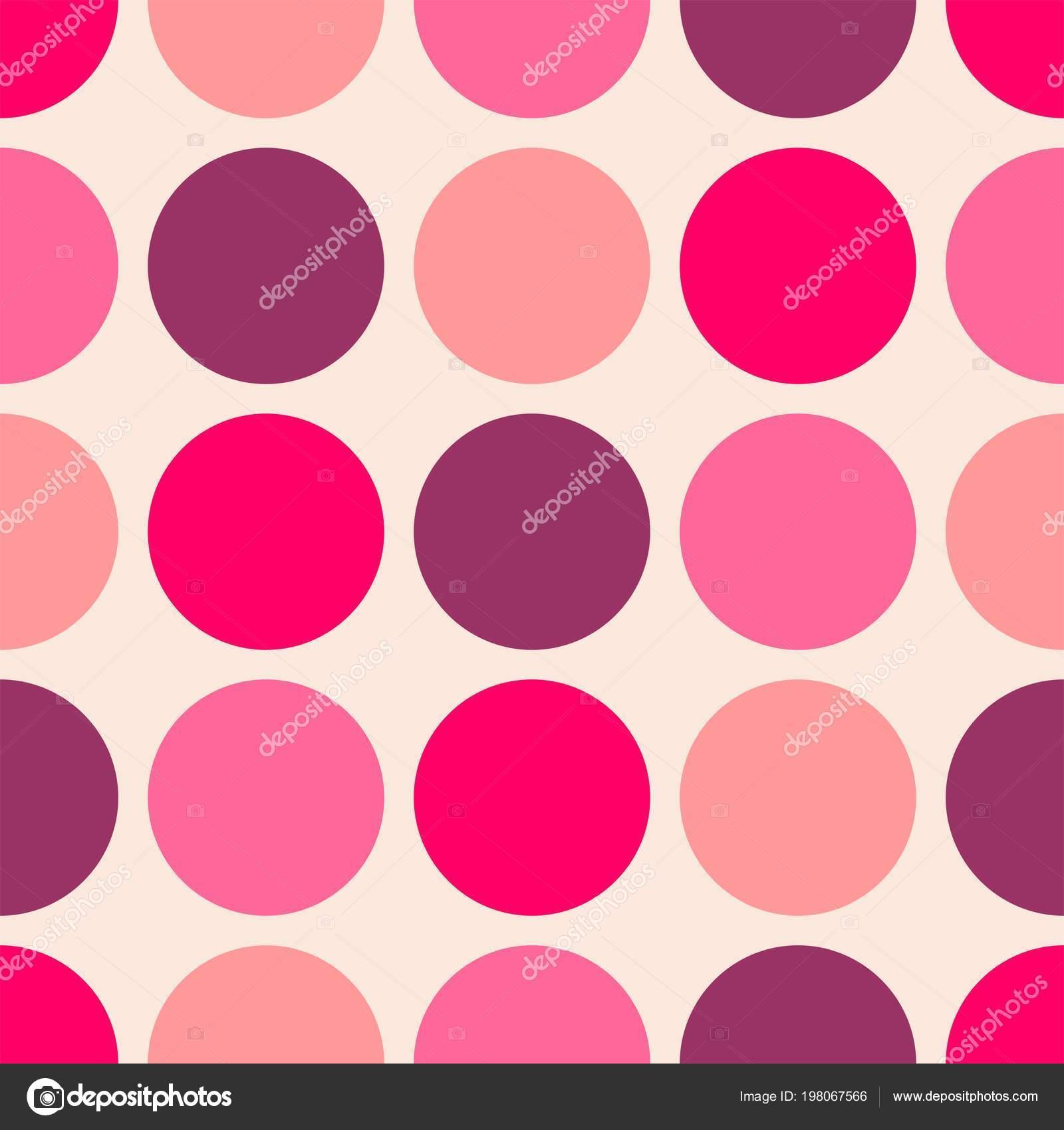 Azulejos Patron Vector Con Lunares Blancos Rosas Sobre Fondo Rosa - Azulejos-rosas