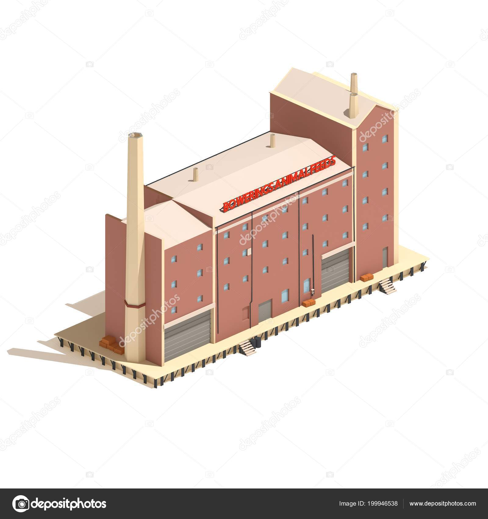 Flat Model Isometric Red Brick Industry Factory Building