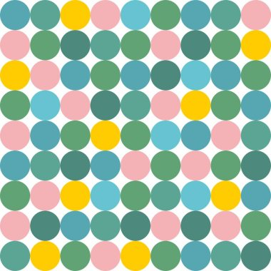 Tile vector pattern with green, blue, yellow and pink seamless polka dots on white background