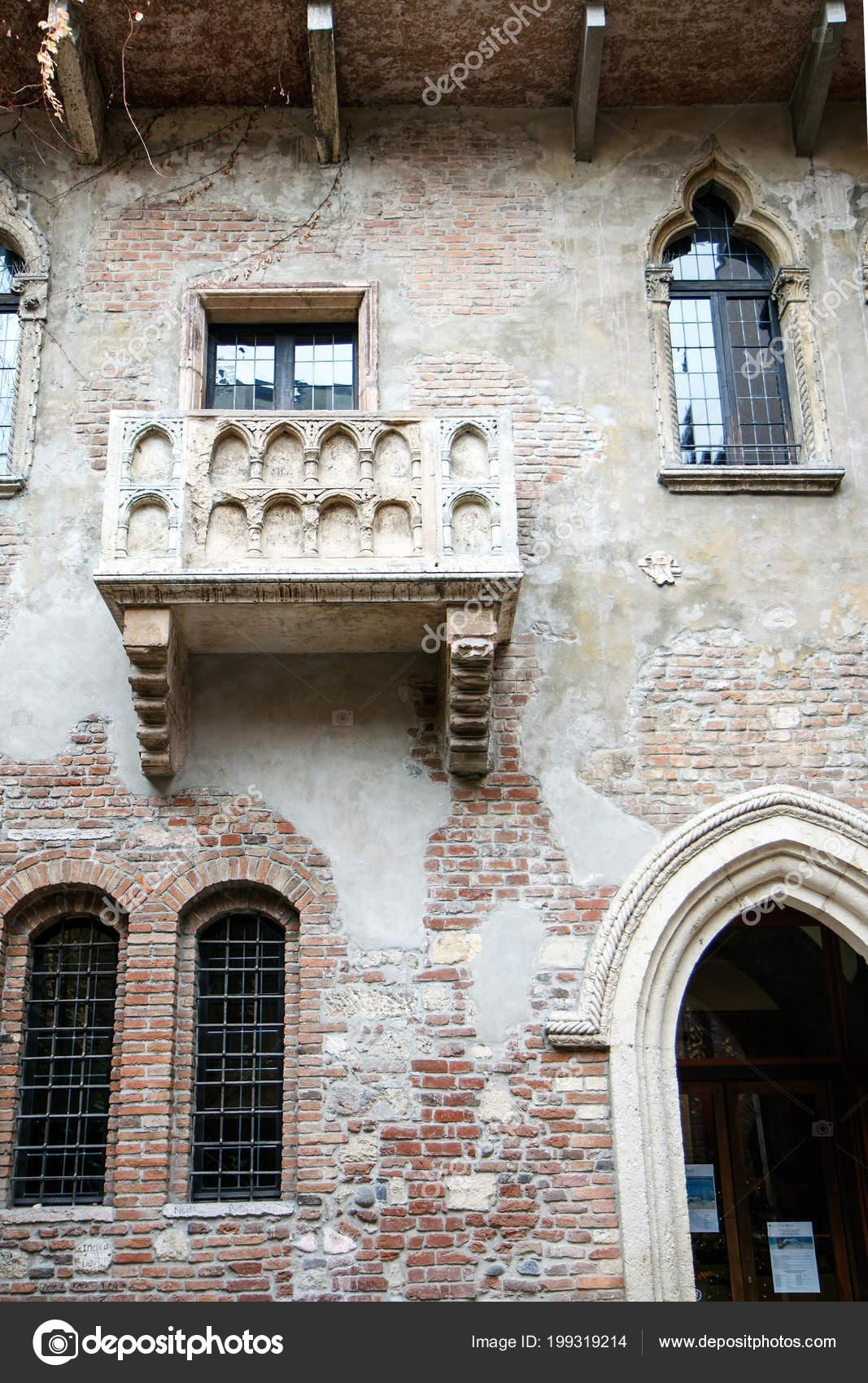 Blick Auf Romeo Und Julia Balkon Tagsuber Verona Italien Stockfoto