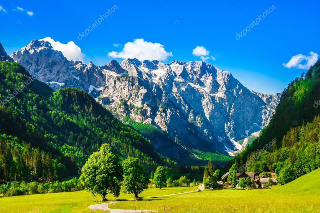 Mountains by Logar Valley in the slovenian Alps