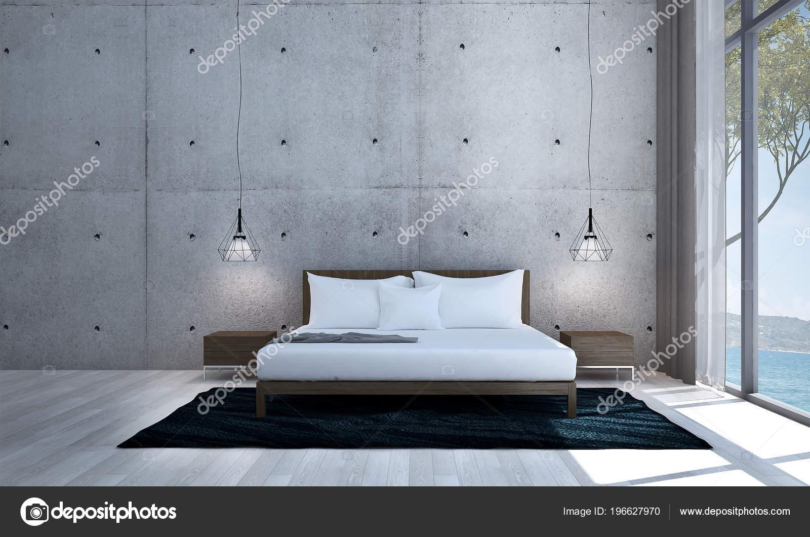 Het ontwerp van accommodating van minimale slaapkamer betonnen