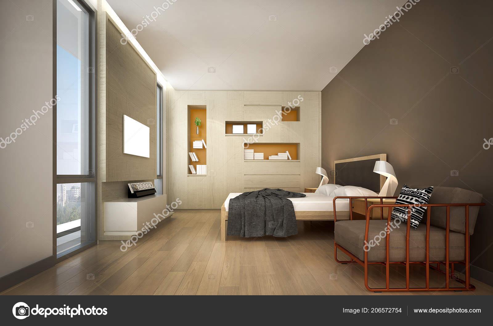 Moderne Schlafzimmer Innenarchitektur Und Holz Wand ...