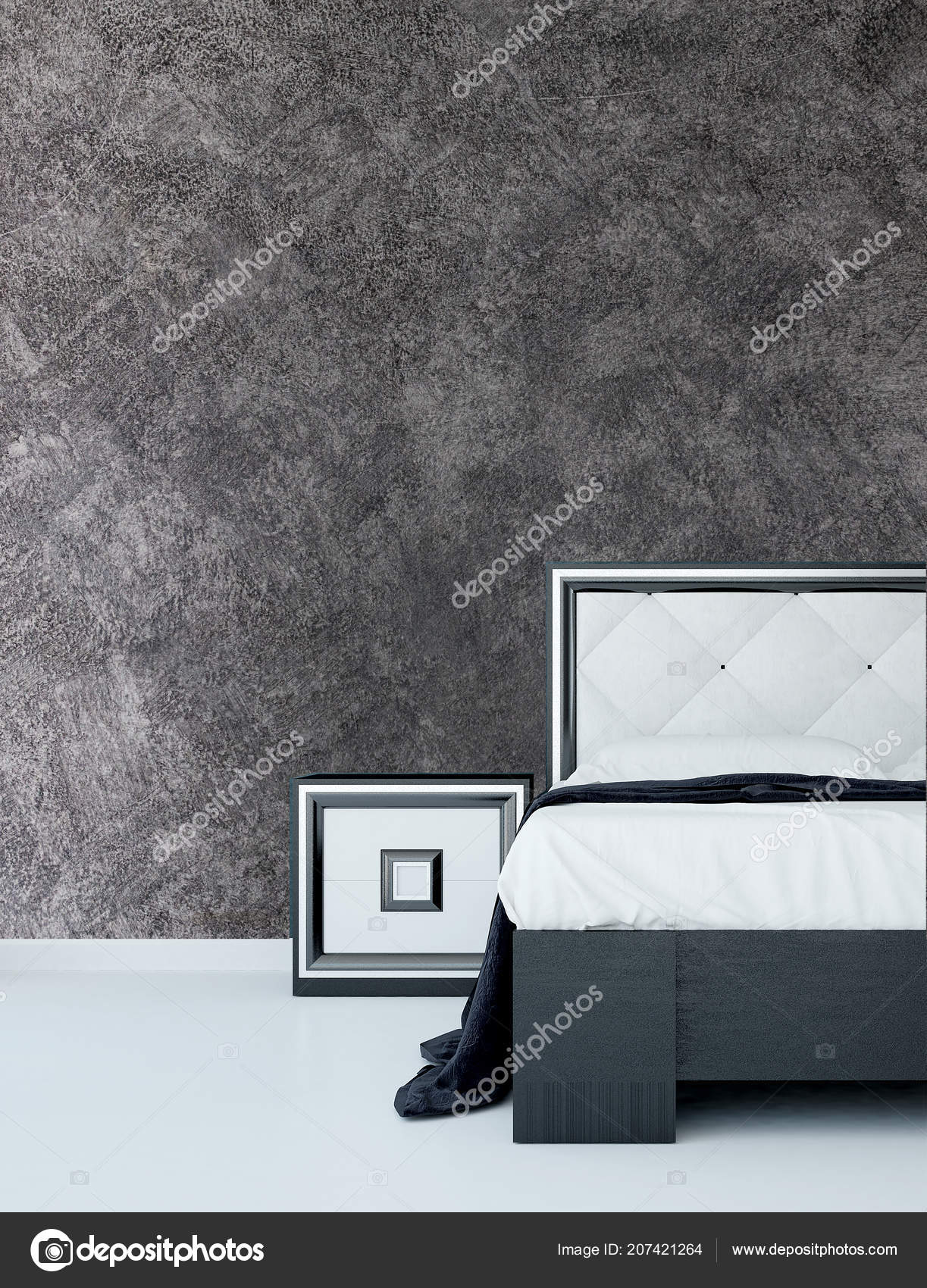 Modern Bedroom Interior Design Concrete Wall Texture Background Stock Photo Image By C Teeraphan 207421264