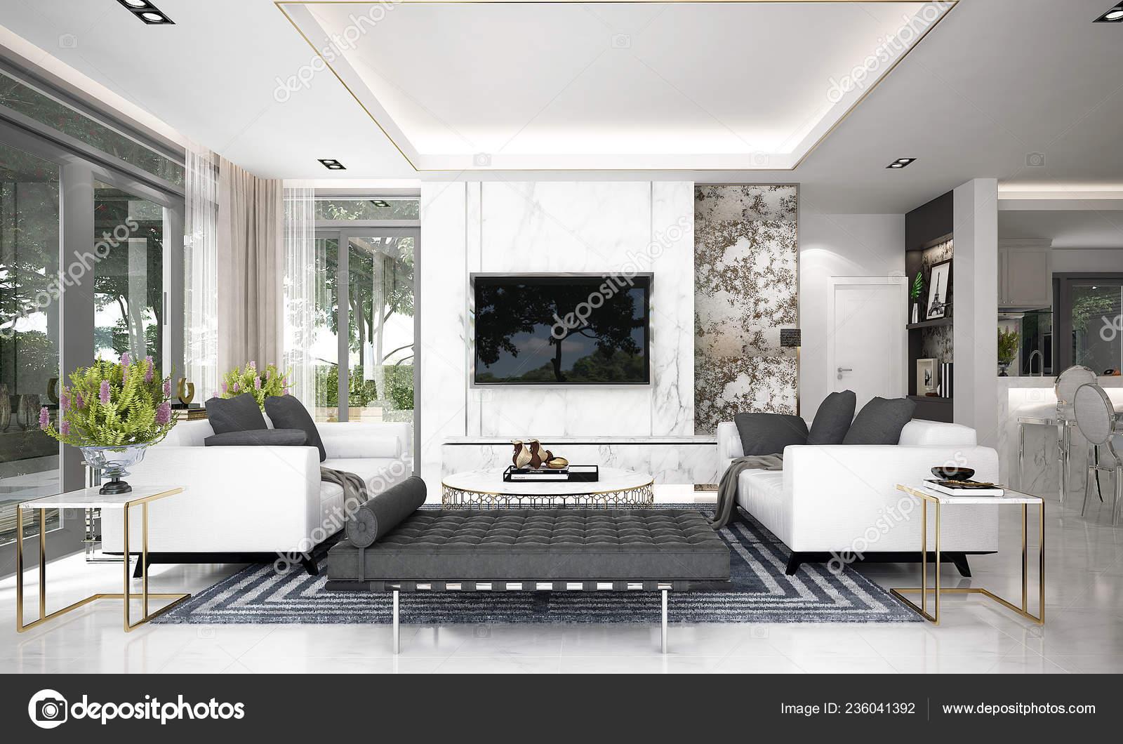 Die Modernen Luxus Wohnzimmer Interior Design Und Beton