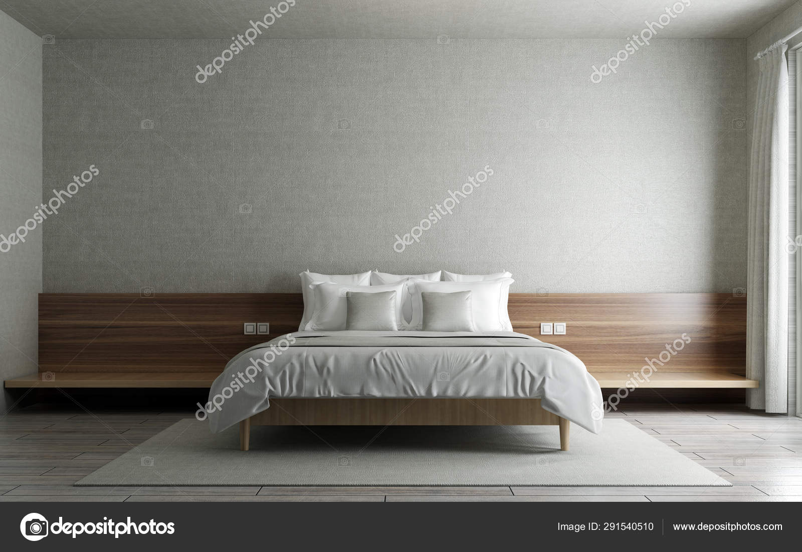 Modern Minimal Bedroom Interior Design White Pattern Wall Background Stock Photo C Teeraphan 291540510