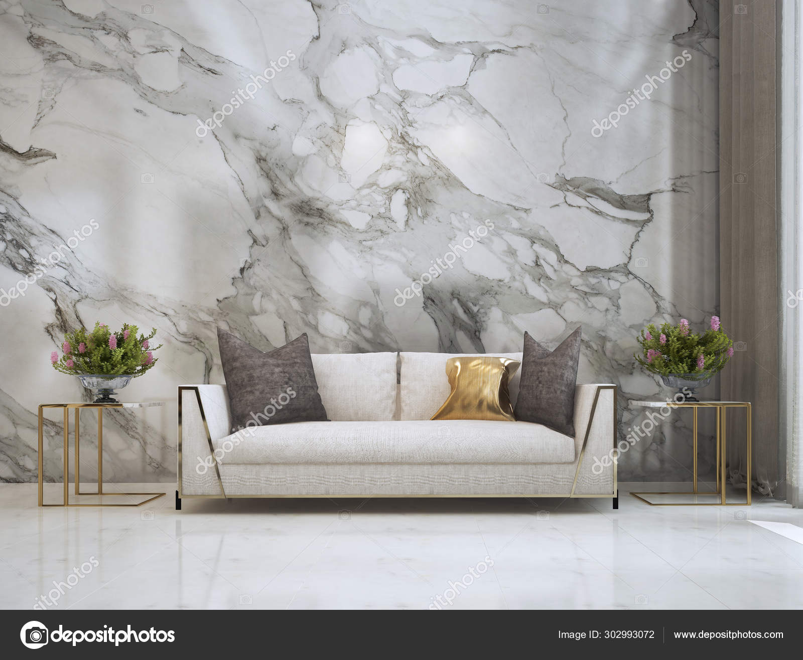 Luxury Living Room Interior Design Marble Wall Texture Background Stock Photo C Teeraphan 302993072