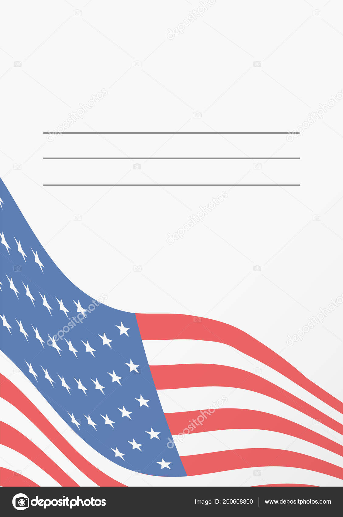 card template american flag greeting postcard empty space text