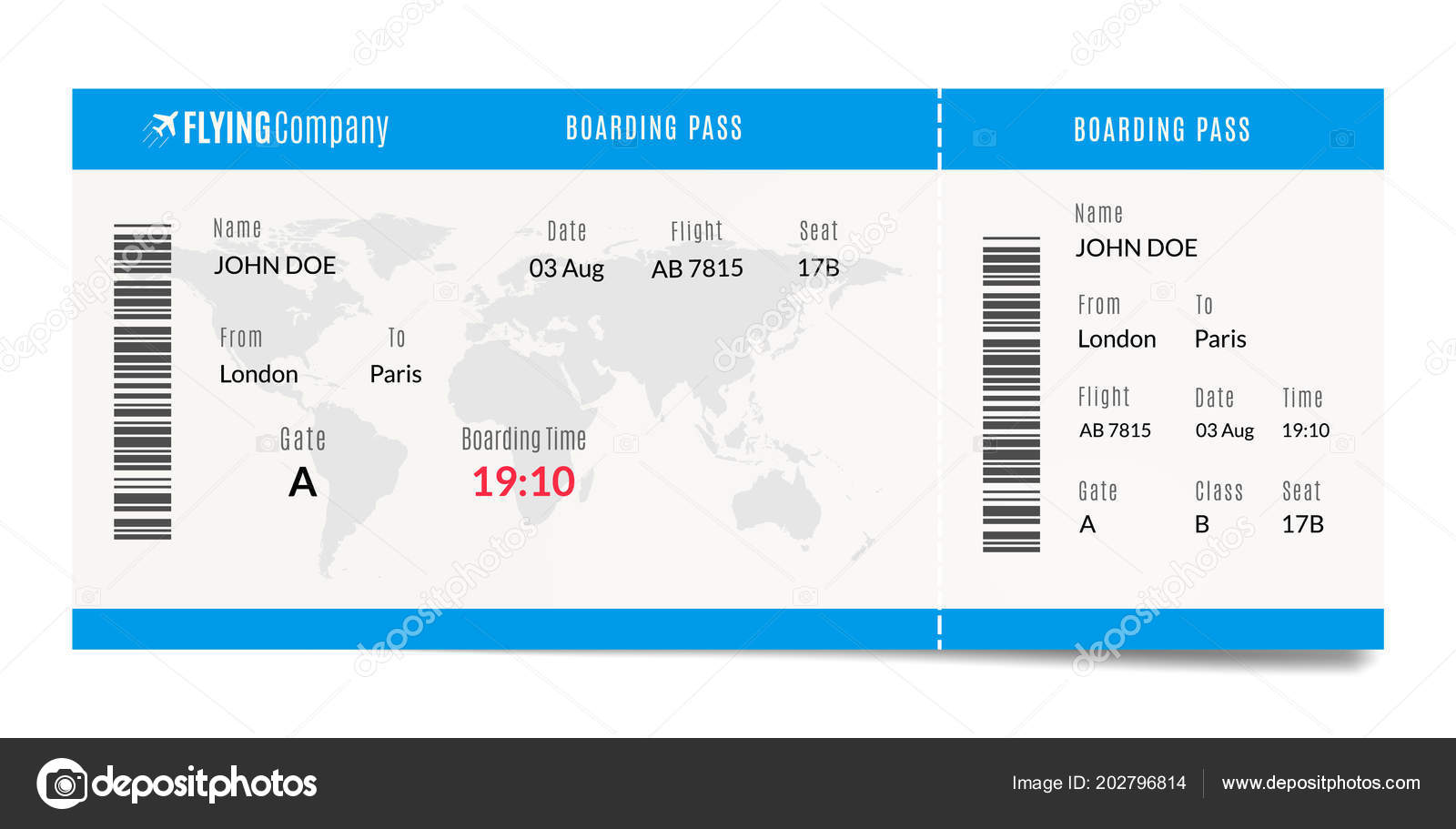 Airplane Boarding Pass Design Plane Travel Ticket Illustration Air ...