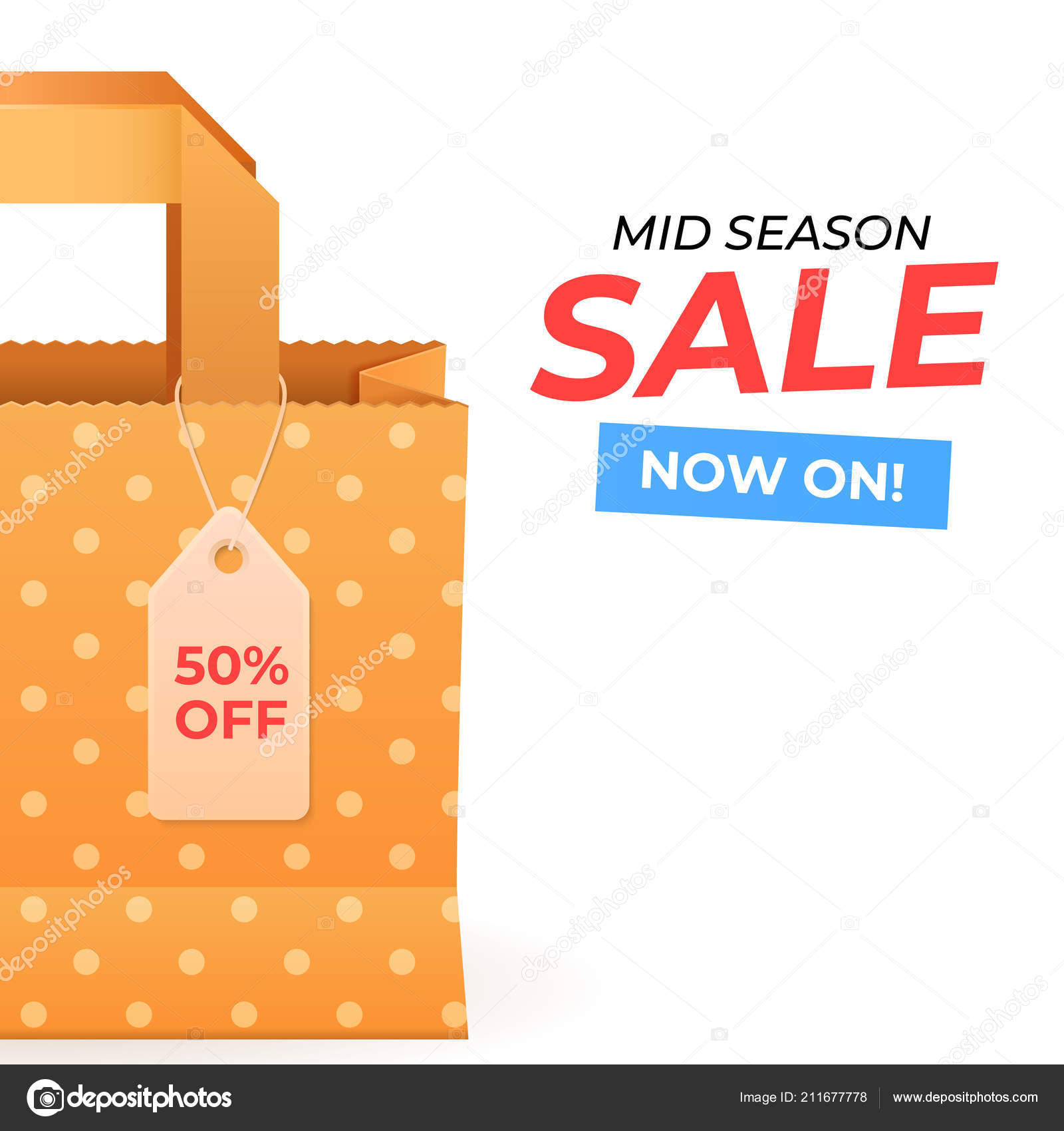 seasonal sale background template paper bag shopping tag vetores