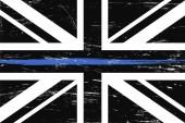 Grunge Spojené království vlajky a s tenkou modrou čárou-znamení cti a úcty britských policejních, vojenských a vojenských důstojníků