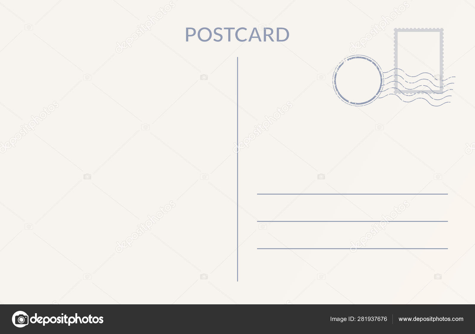 Empty Postcard Template Design Of Blank Post Card Back