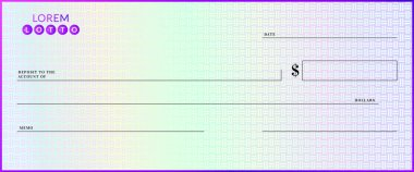 Blank lottery check template. Fake cheque page mockup.