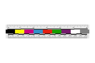 Forensic or police ruler with a color swatches.