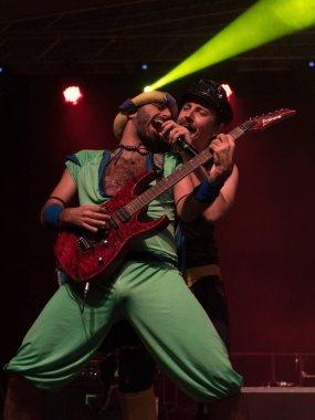 Bergamo, Italy - June 29, 2018: The Italian comedy heavy metal band from Rome, NANOWAR OF STEEL performs at BIRRANBANDA Festival of Sanpaolo dArgon BG. Brambilla Simone Live News photographer