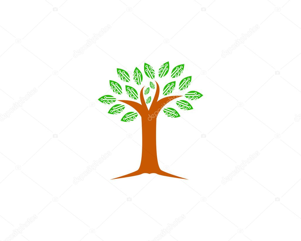 Tree Tech Icon Logo Design Element