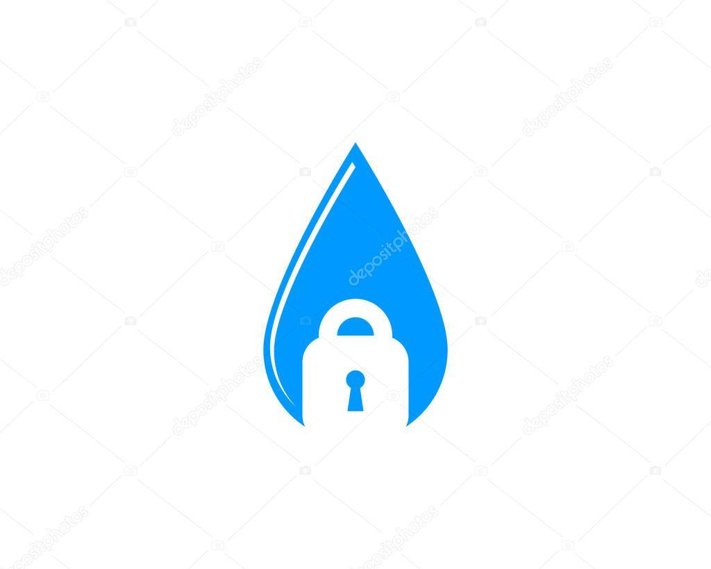 Water Security Lock Icon Logo Design Element