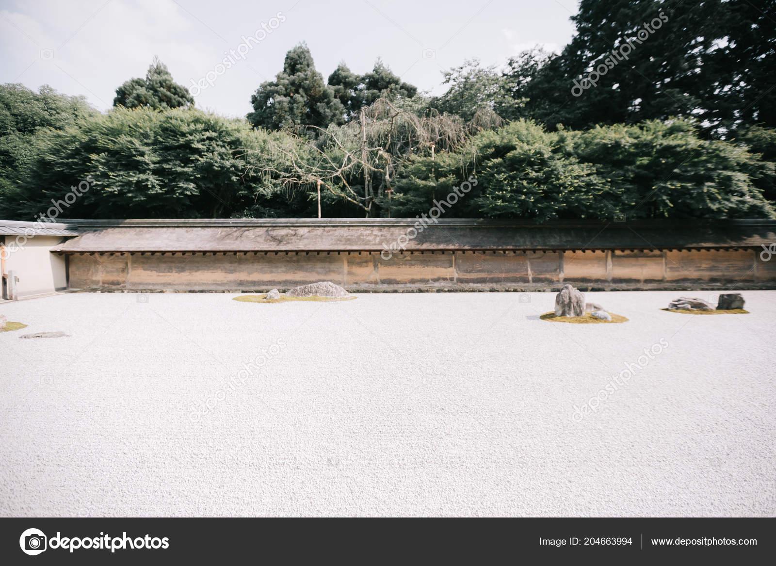 Japanese Zen Stone Garden Green Maple Leaves Film Vintage