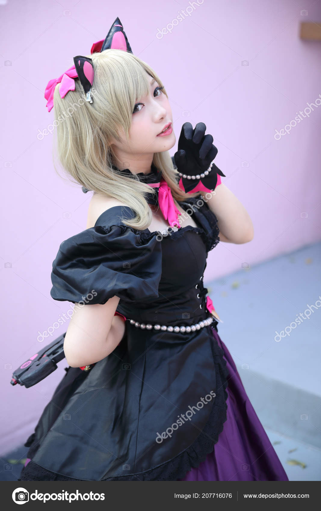 portrait japan anime cosplay girl pink tone stock photo piyato