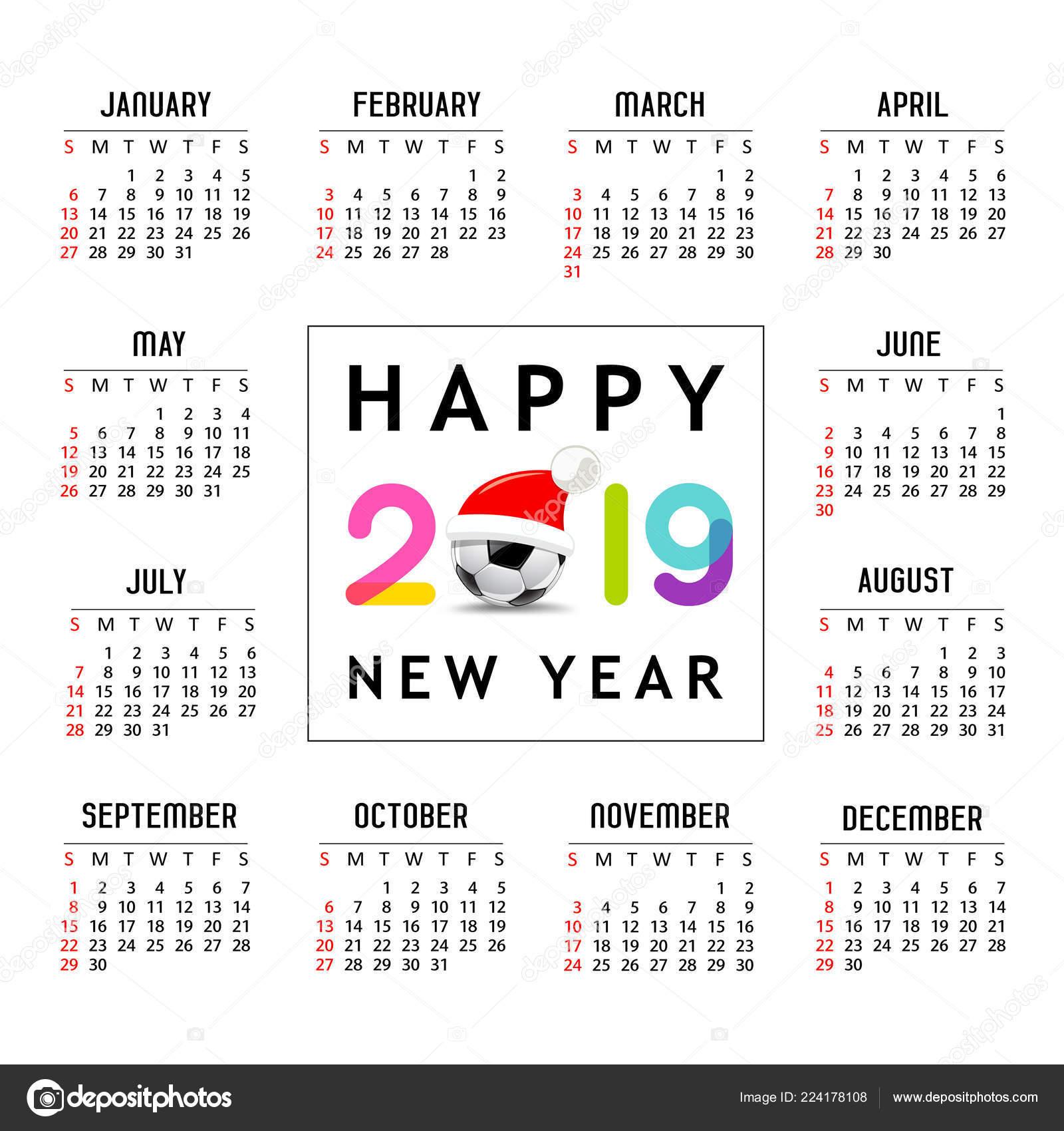 Calendario Futbol 2019.Calendario Nuevo Ano 2019 Sombrero Santa Futbol Bola Plantilla