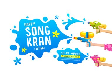 Happy Songkran festival thailand gun water in hands collections vector design isolated on white background illustration