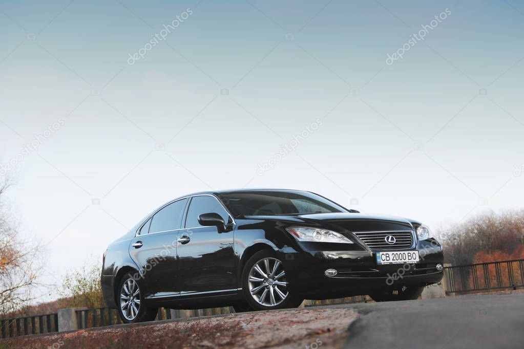 Kiev, Ukraine - November 5, 2018: Lexus ES car on a background sky. View of the car below
