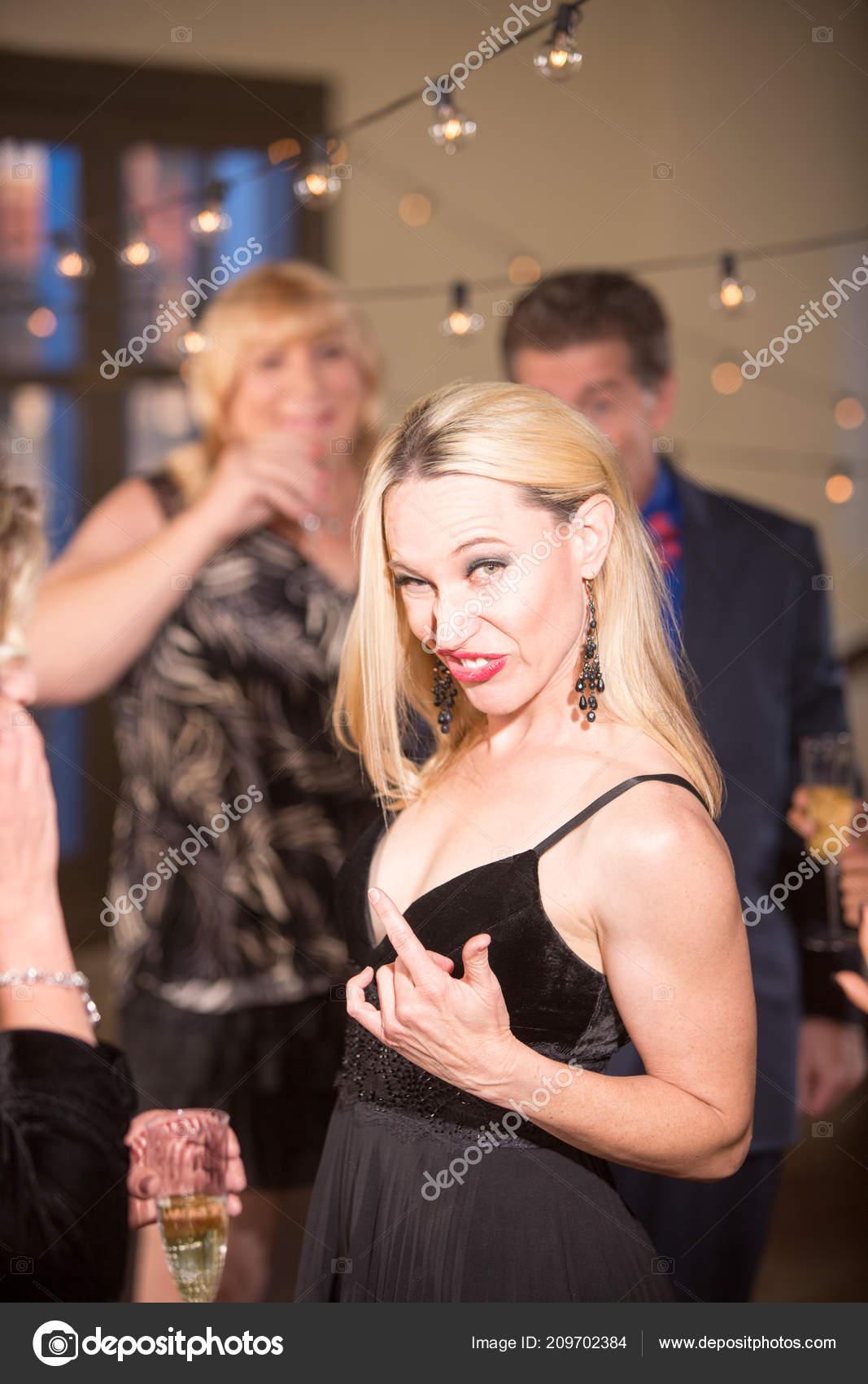 Nerdy Mature Woman Party Reception — Stock Photo