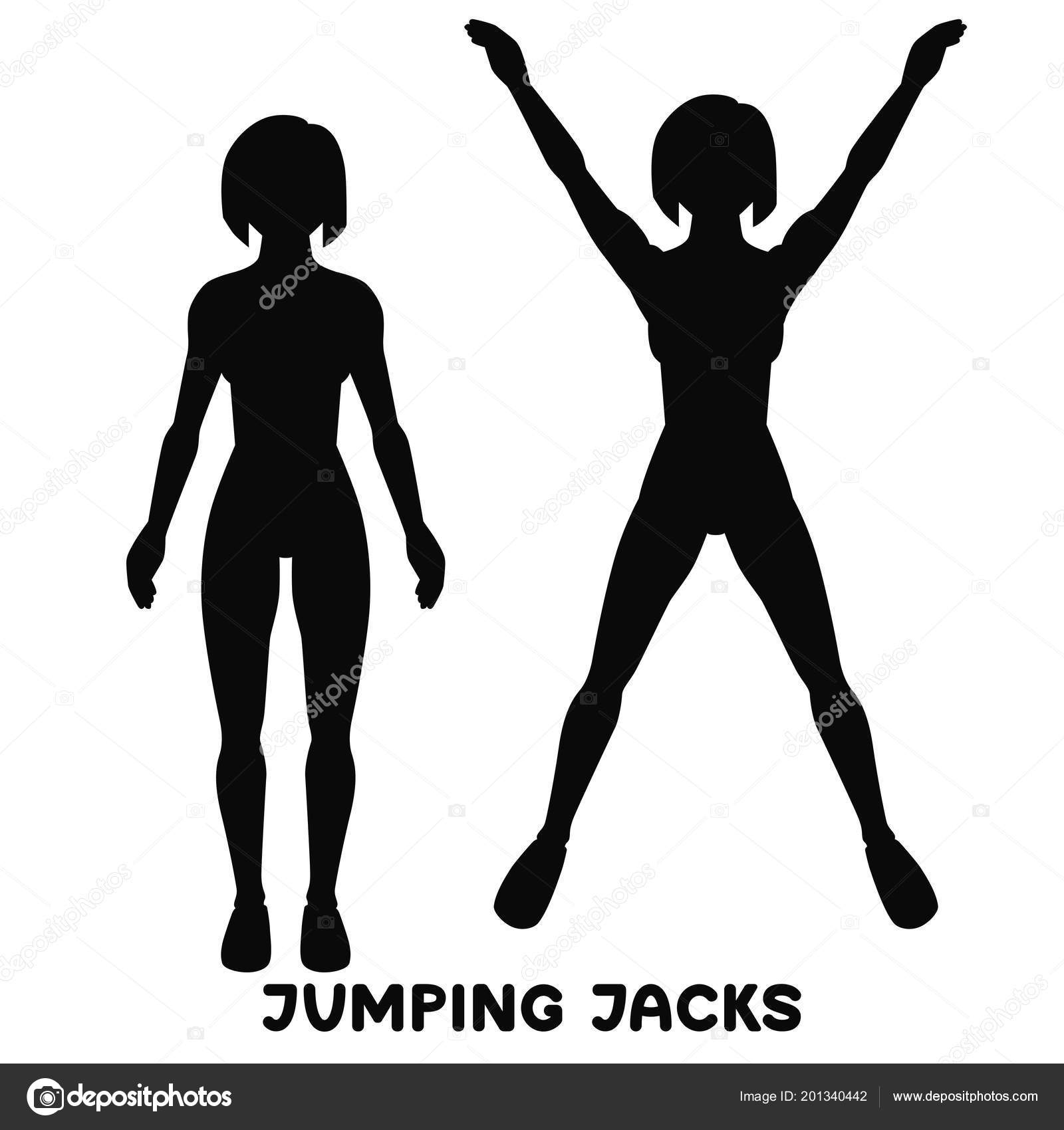 jumping jack sport exersice silhouettes of woman doing exercise 100 Jumping Jacks Workout jumping jack sport exersice silhouettes of woman doing exercise workout training vector illustration vector by otom0