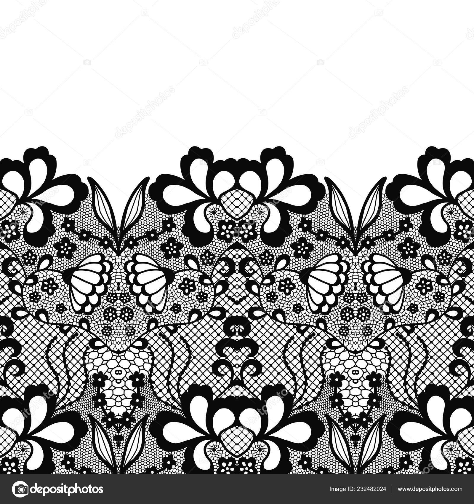 49822b0f33 Seamless lace border. Vector illustration. Black lacy vintage elegant trim.  — Vector by comotom0. Find Similar Images