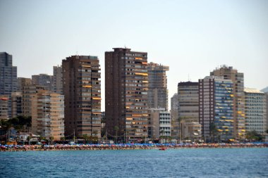 Sunny panoramic view on Benidorm city with seafront in Alicante Mediterranean of Spain