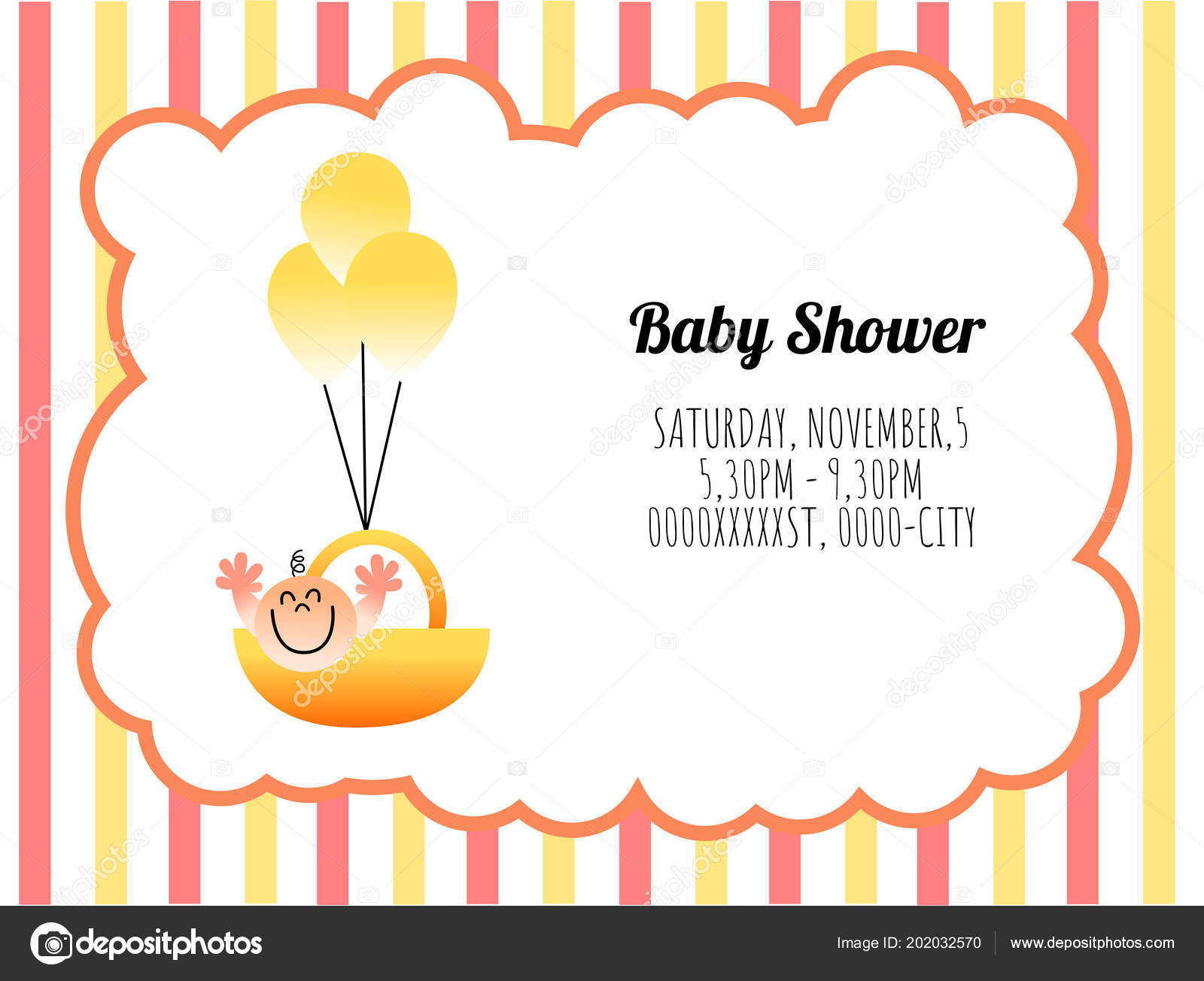 pretty template card invitation baby shower ストックベクター