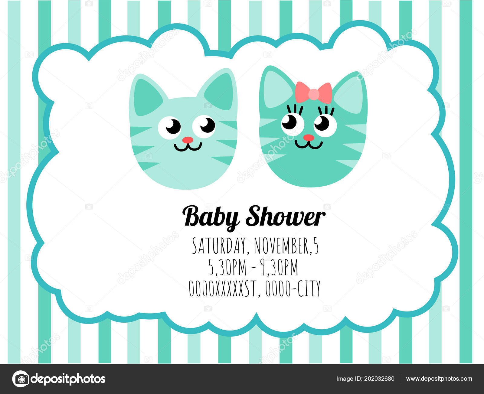 Pretty Template Card Invitation Baby Shower Image Vectorielle