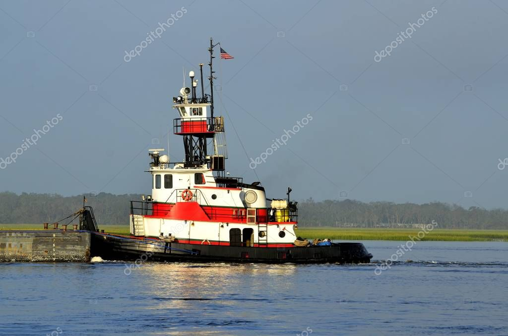 Tugboat working on river at St. Augustine, Florida
