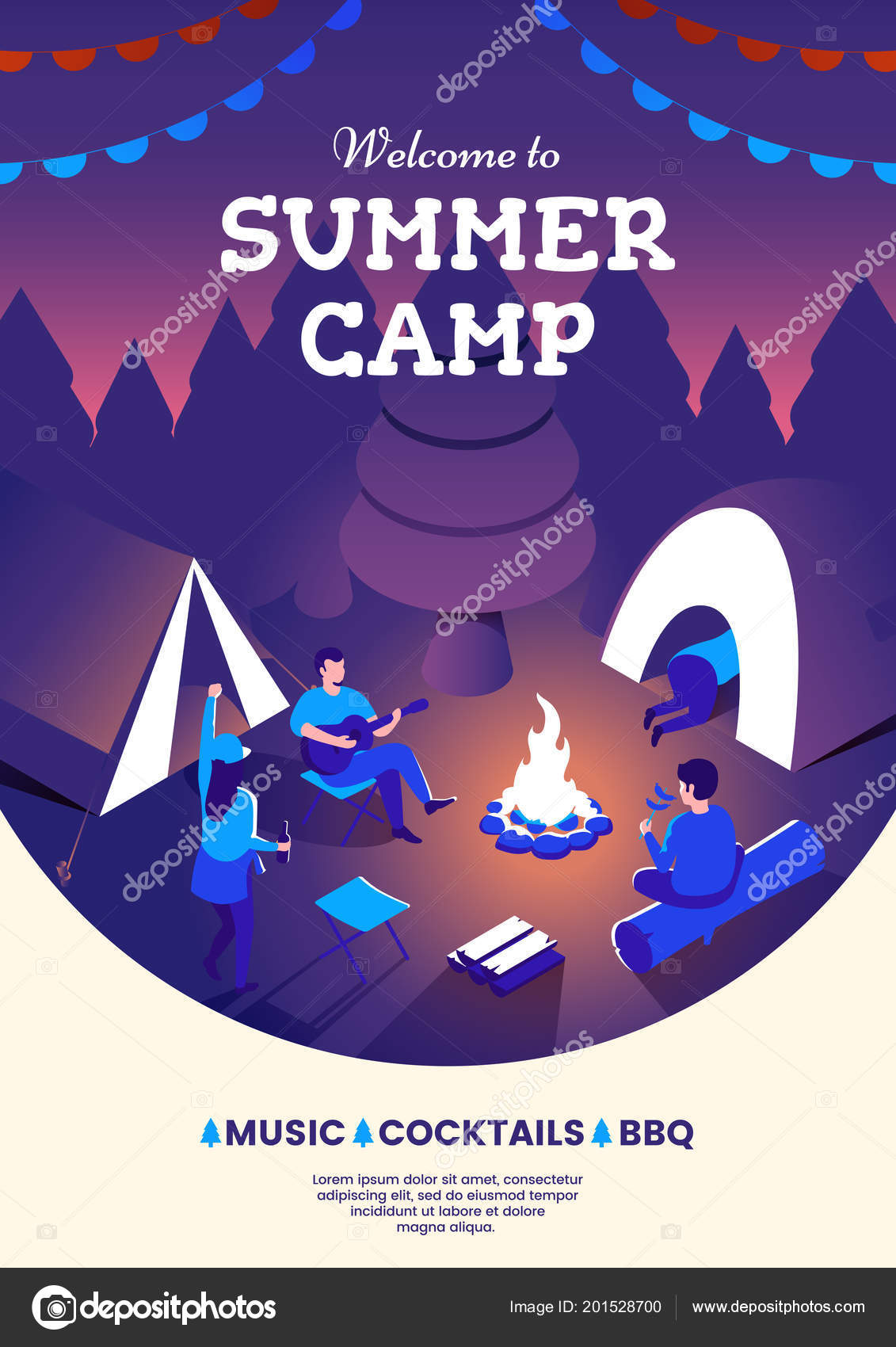 Summer camping party invitation poster group of people sitting at a summer camping party invitation poster group of people sitting at a campfire night camp illustration summer picnic design template for flyer or banner stopboris Choice Image