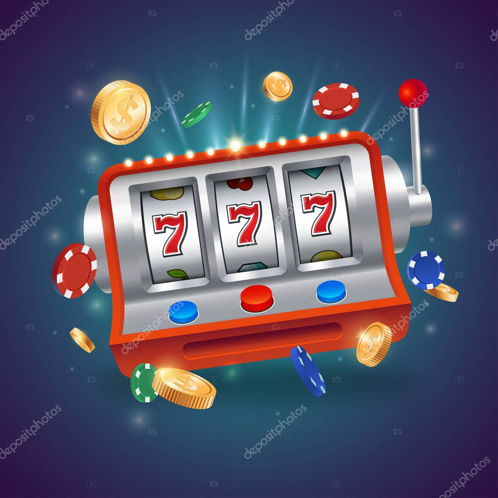 ✓ Casino slot machine. Big win 777 lottery casino vector illustration.  Flying playing chips with gold coins. Eps 10. premium vector in Adobe  Illustrator ai ( .ai ) format, Encapsulated PostScript eps ( .eps ) format