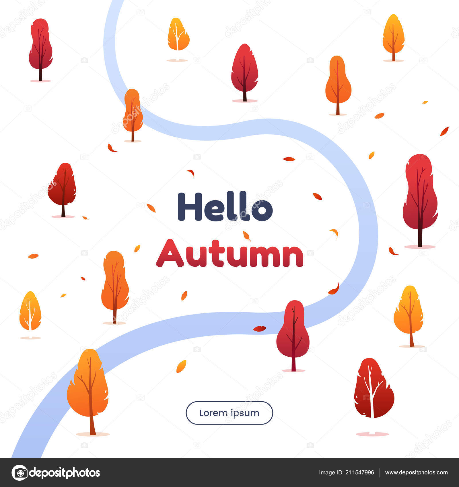 Hello autumn vector illustration autumn forest with falling foliage hello autumn vector illustration autumn forest with falling foliage colorful trees silhouettes and small stopboris Images