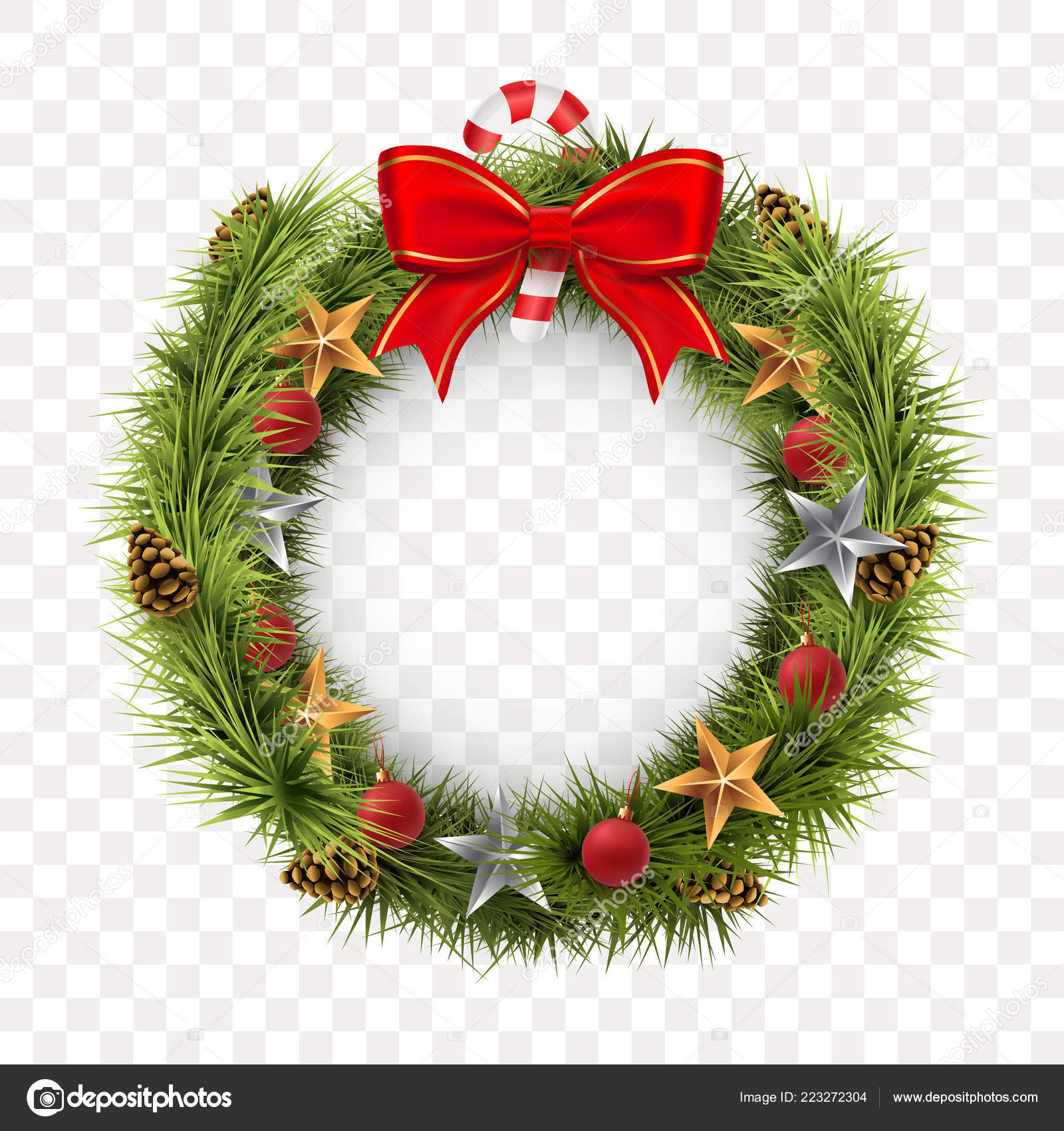Round Christmas Wreath Isolated On Transparent Background Spruce