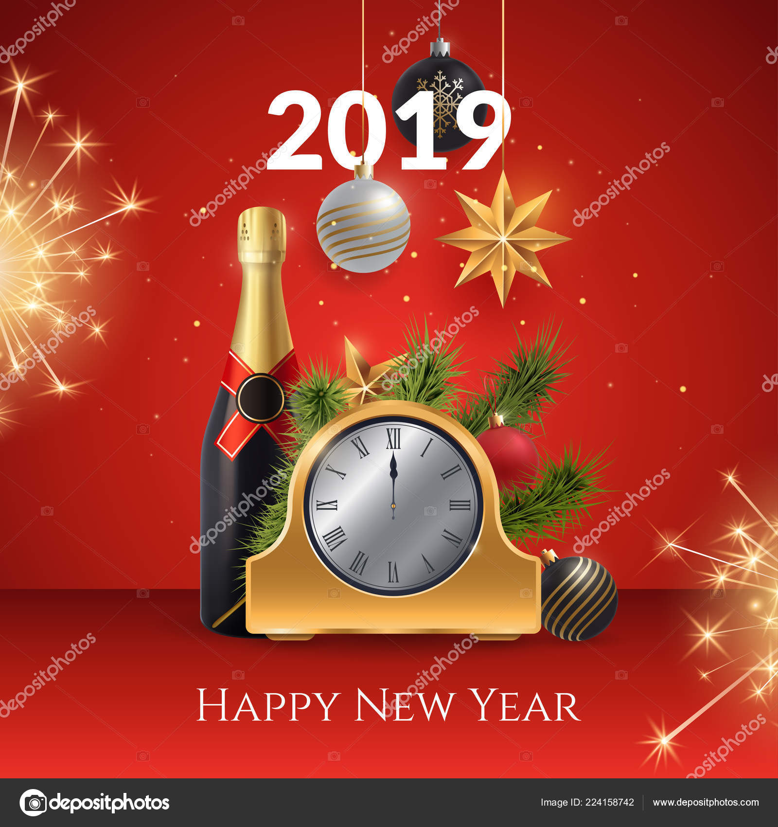 2019 happy new year vector illustration composition with a golden clock champagne bottle fir branches and festive fireworks holiday card or invitation