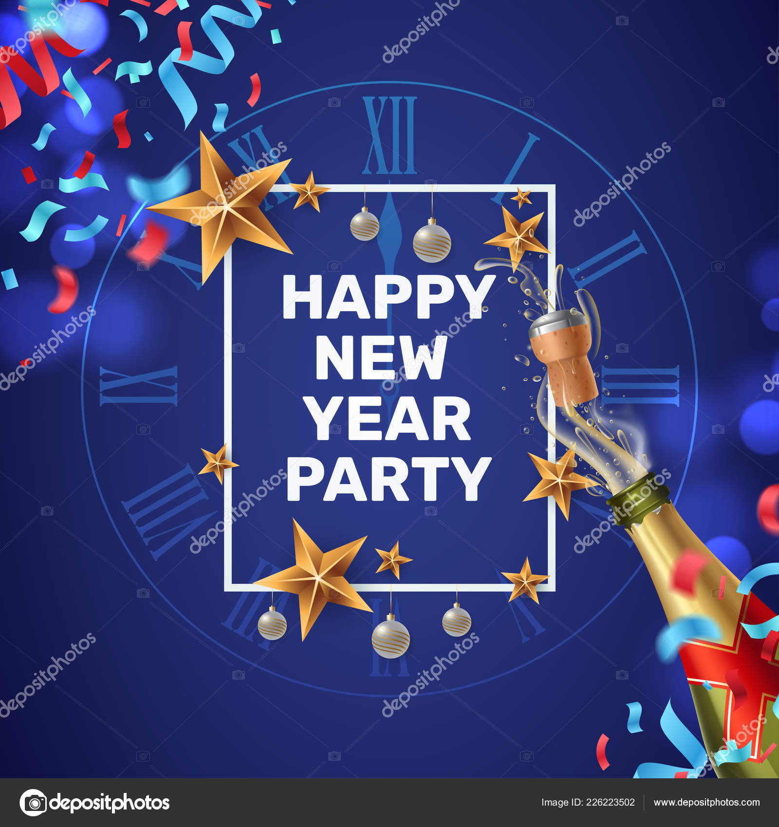 happy new year party invitation composition with a festive frame clock face colorful confetti and a shot of champagne new year greeting card template