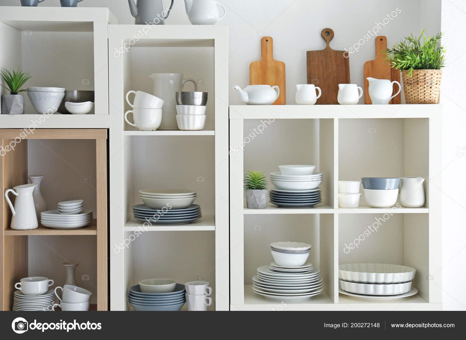 Strange Kitchen Shelving Dishes White Wall Background Stock Photo Download Free Architecture Designs Rallybritishbridgeorg