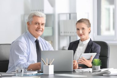 Mature marketing manager with trainee in office