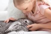 Fotografie kleines Mädchen mit entzückendem Kaninchen drinnen
